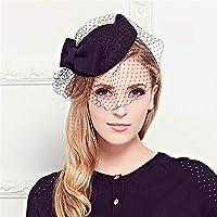 女性用アクセサリートップヘアクリップ エレガントな女性ブライダル魅惑的な帽子20代50代帽子ピルボックス帽子カクテルティーパーティー帽子帽子付き女の子と女性 (色 : ブラック)