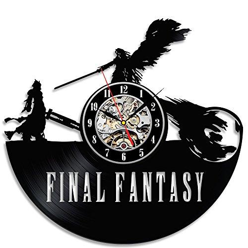 ファイナルファンタジーテーマ黒ビニール美しい壁時計...