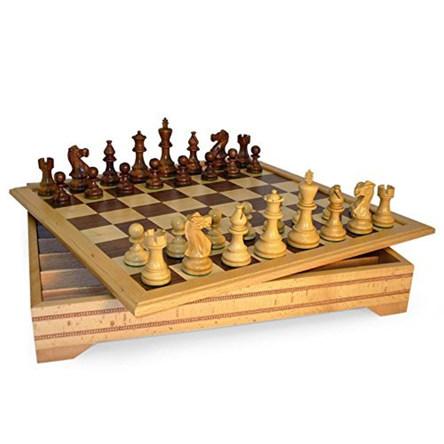 Classic Sheesham Staunton Chess Set on Beechwood Chest by World Wise [並行輸入品]
