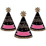 シックHappy誕生日 – ピンク、ブラックとゴールド – Mini円錐Birthday Party Hats – Small Little Party Hats – 10のセット