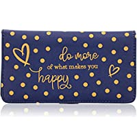 Juvale Checkbook Cover Printed Blue Polka Dot Wallet - 6.9 x 3.75 inches