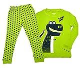 (アーカーワークス) キッズ ジュニア 子供服 男の子 パジャマ 長袖 ルームウェア 寝巻き ボーイズ 恐竜 綿100% 上下セット (ライトグリーン90cm)