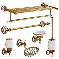 レトロタオルペンダントセット、セラミッククリスタルバスルームアクセサリーペンダント、すべての銅ヨーロッパのタオルラックセット LUYIYI