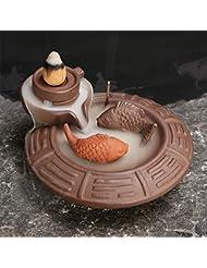 (Fish) - Jeteven Ceramic Fish Backflow Incense Burner, Incense Cones Sticks Holder, Ideal for Yoga Room, Home...