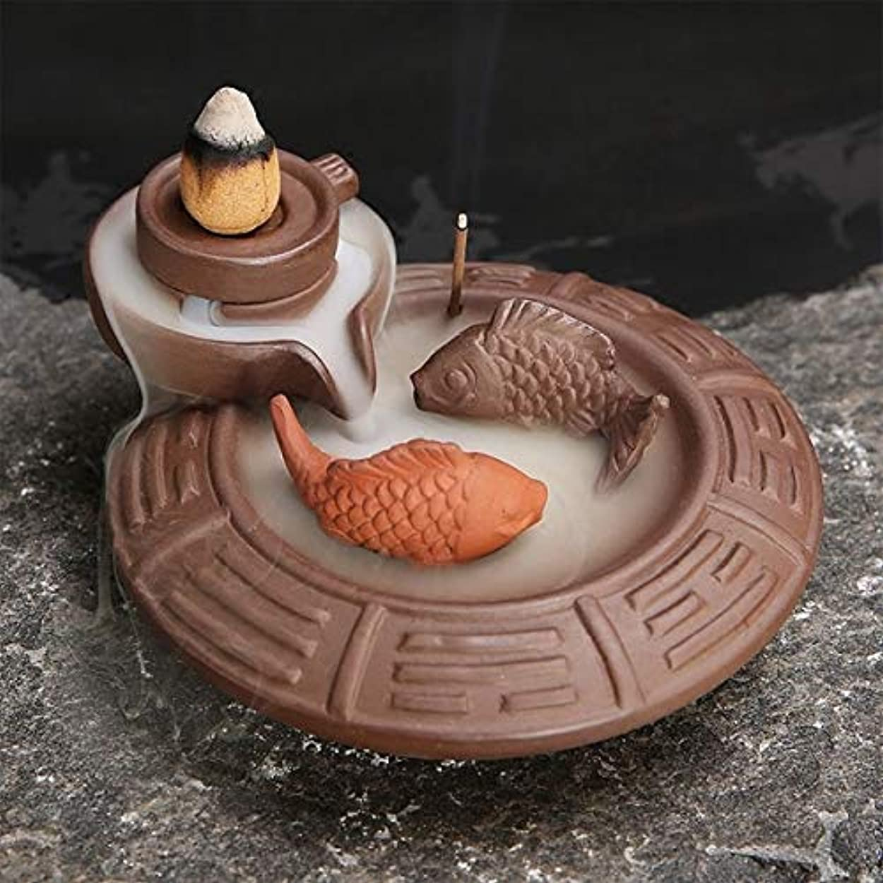 丈夫開梱アラーム(Fish) - Jeteven Ceramic Fish Backflow Incense Burner, Incense Cones Sticks Holder, Ideal for Yoga Room, Home...