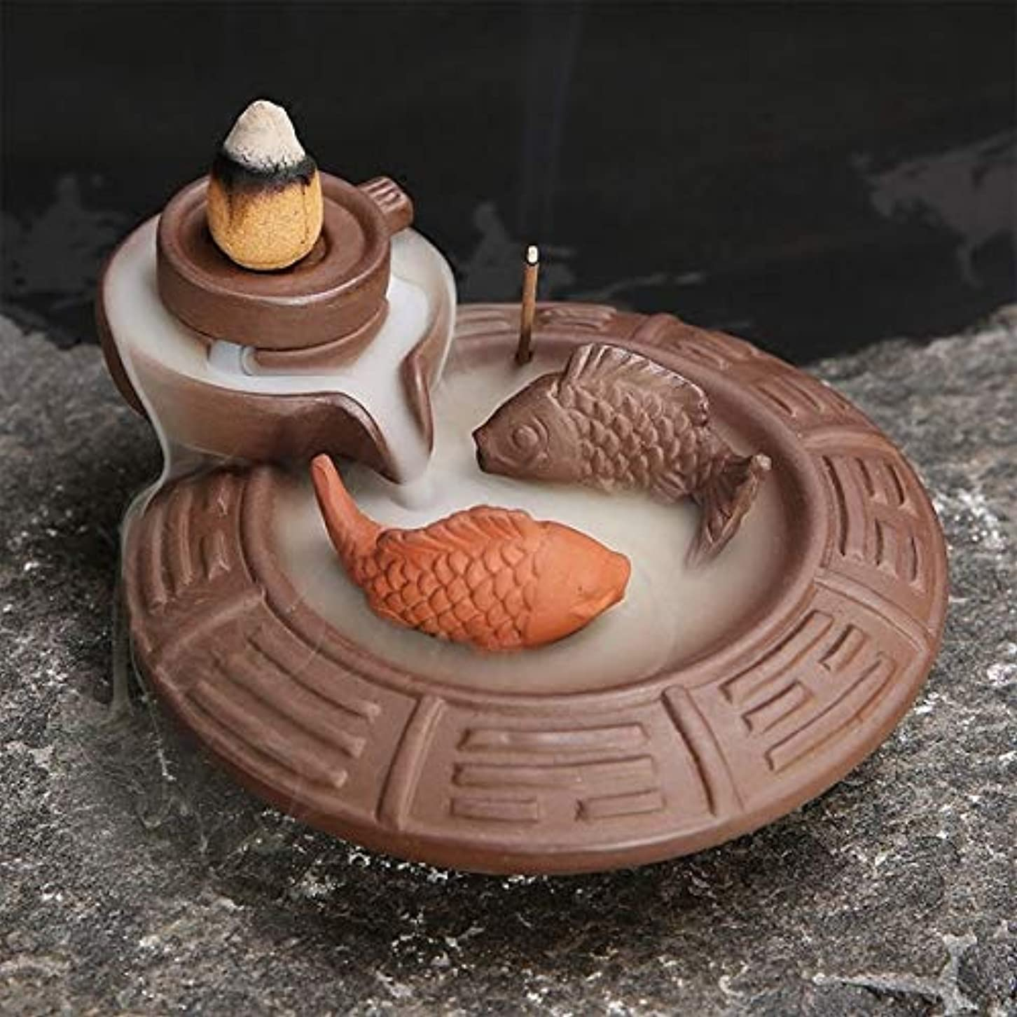 日中傷むしゃむしゃ(Fish) - Jeteven Ceramic Fish Backflow Incense Burner, Incense Cones Sticks Holder, Ideal for Yoga Room, Home...