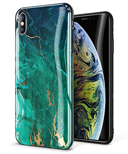 【GVIEWIN】 スマホケース iPhone XR ケース耐衝撃 指紋防止 ワイヤレス充電対応 ソフト 擦り傷防止 滑り止め 大理石柄 人気(強化ガラス付き)(緑)