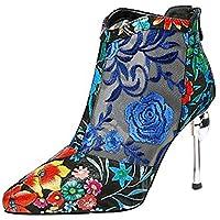 [Calaier] レディーズ Cyxialo 9.5CM レザー ジッパー ブーツ 婦人靴, B, 23.0cm