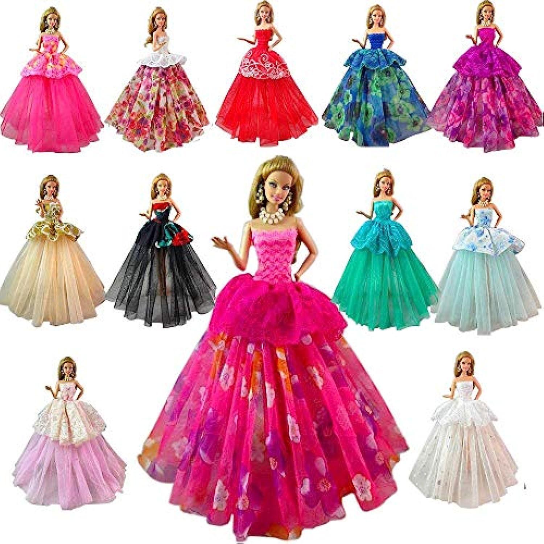 「Barwawa」バービー用服 りかちゃん人形服 りかちゃん服 手作り ジェニー用ドレス ドール用ドレス 人形用 アクセサリー 1/6ドール用 プリンセスドレス ランダム7枚セット