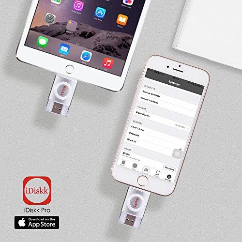 ライトニング USB メモリUSB 3.0 フラッシュドライブ Lightningコネクタ外付けドライブストレージ搭載 iPad iPhone iPodとパソコンなどに対応日本語説明書 APP iDiskk [Apple MFi 認証済](32GB, 銀)