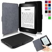 Infiland Kindle Paperwhite と NEW-Kindle Paperwhite (2015) ケース 超薄型 最軽量の保護 レザー カバー マグネット機能 (Kindle paperwhite, ブラック)