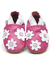 Soft Leather Baby Shoes Little Flowers Pink [ソフトレザーベビーシューズリトル花ピンク] 6-12 months (12 cm)
