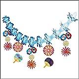 夏祭り装飾 提灯花火ガーランド L180cm / 飾り ディスプレイ ちょうちん  7623