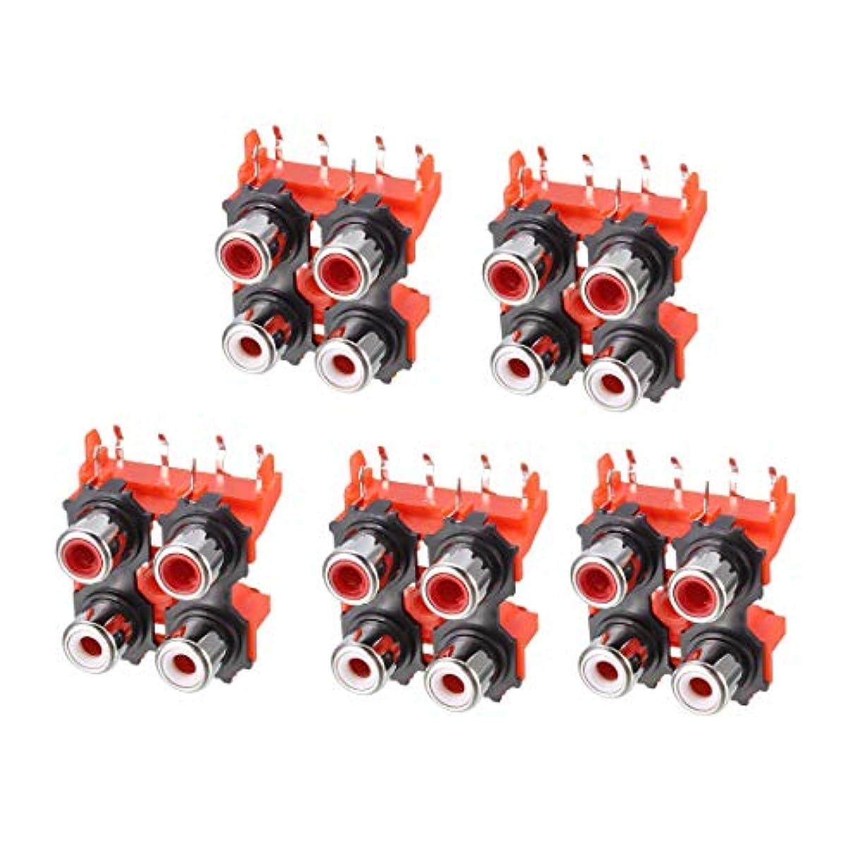 粘り強いくしゃみ概要uxcell PCBパネルコネクタ 6 RCAソケット メスジャッキ オーディオビデオ用 AV用 レッド 6ピン 5個入