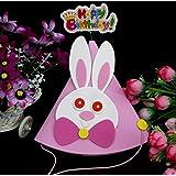 HuaQingPiJu-JP 子供の誕生日パーティーの装飾かわいい動物のウサギのパターンハットピンク