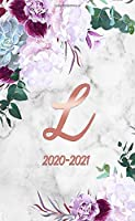 2020-2021: Glossy Rose Gold Monogram Initial Letter L Two Year Monthly Pocket Planner | Marble & Floral 2 Year (24 Months) Agenda & Organizer With Notes, Contact List and Password Log.