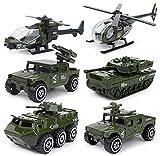 UiiQ ミニカー 6台セット 戦車コレクション 自衛隊 軍事車両 戦闘車両 ヘリコプター 男の子 おもちゃ モデルカー 1/87 (合金&プラスチック製)