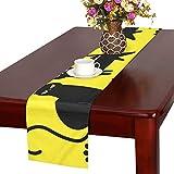 GGSXD テーブルランナー 親しい黒い猫 クロス 食卓カバー 麻綿製 欧米 おしゃれ 16 Inch X 72 Inch (40cm X 182cm) キッチン ダイニング ホーム デコレーション モダン リビング 洗える