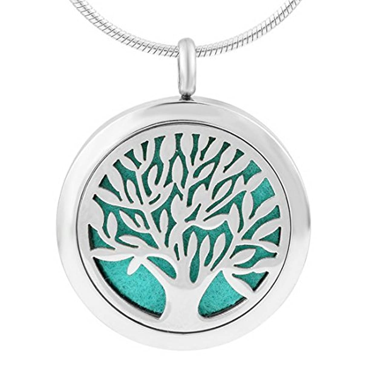 MJARTORIAステンレススチールTree of Life Aromatherapy Essential Oil Diffuserロケットペンダントネックレス