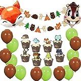 誕生日パーティー飾り 動物 狐 栗鼠 動物の顔 バルーン 森の動物 女の子 男の子 森ガーランド ケーキトッパー 保育園 幼児園 ベビーシャワー