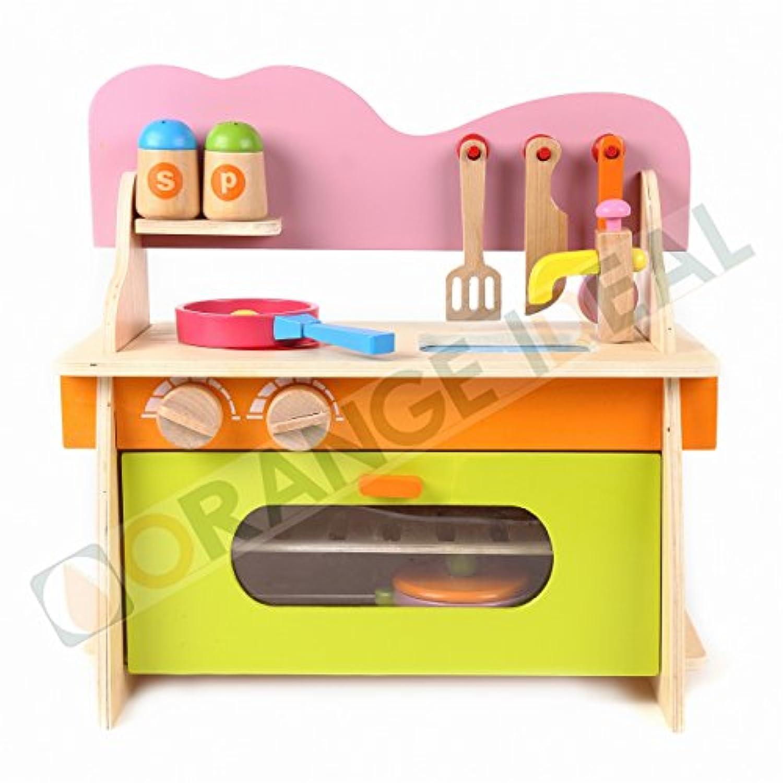 ORANGE IDEAL おままごと 木製 キッチンセット 組立式 たのしくお料理しましょ! 鍋 フライパン ほうちょう フライ返し スプーン 塩 こしょう 調味料 入れ 付き はじめて のよくばり ままごと セット (M)