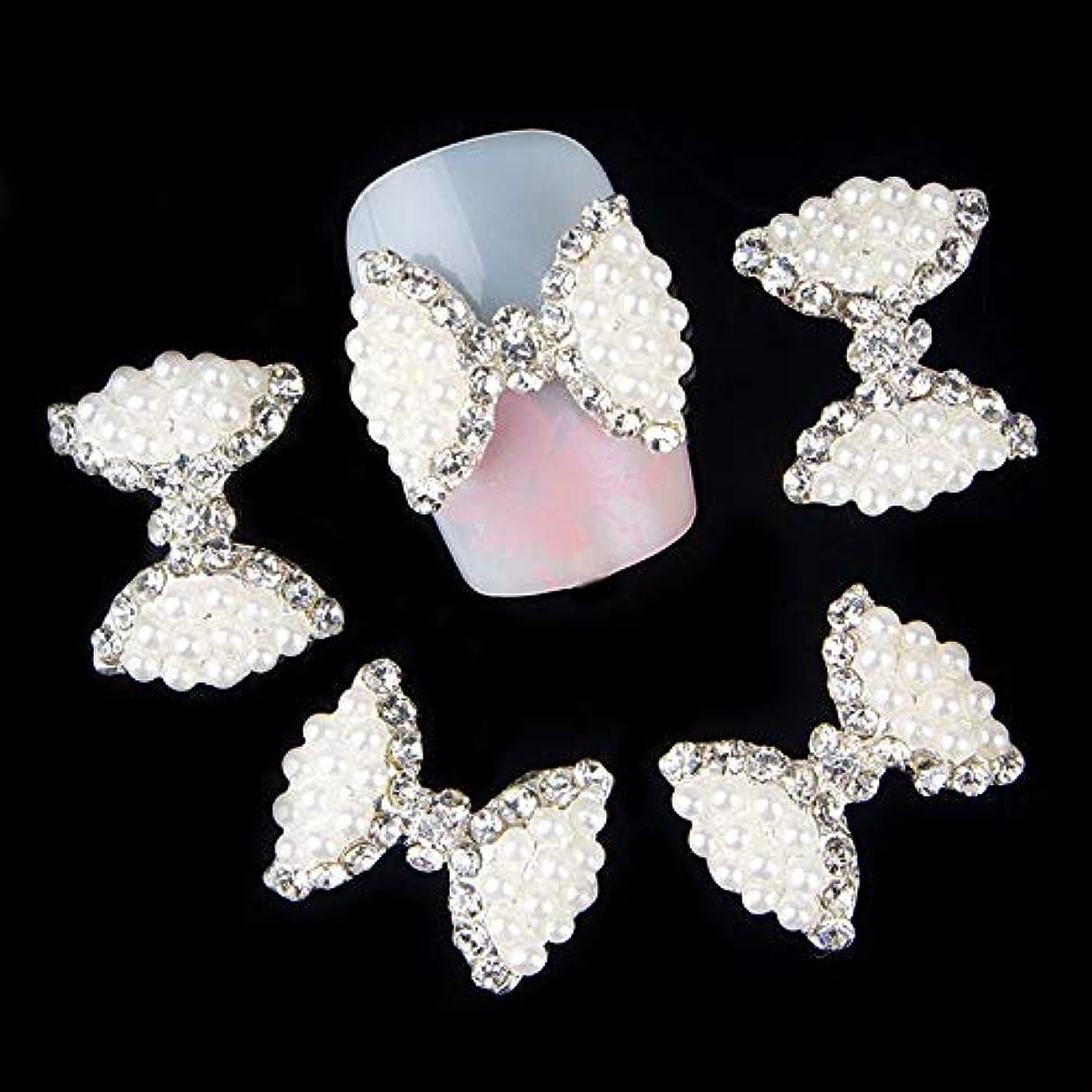 水星石パワーセル10個入りグリッターホワイトボウネイルアートラインストーンメタルアロイネイルアートデコレーションチャームネイルツール
