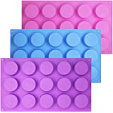SENHAI 3 Pcs 15 Holes Cylinder Silicone Molds for Making Chocolate Candy Soap Muffin Cupcake Brownie Cake Pudding Baking Cook