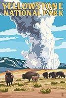 イエローストーン国立公園–オールド・フェイスフル・ガイザーand Bison Herd 24 x 36 Signed Art Print LANT-48332-710