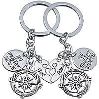 2pcs BBF Best Friends Key Chain Ring Set No Matter Where Compass Split Broken Heart Friendship Gift Unisex