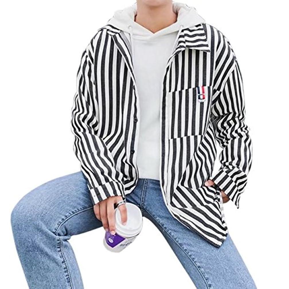 アベニュープランテーション寝室BOXUAN春夏秋メンズ シャツ 長袖 ストライプシャツ 細身 メンズ ゆったり カジュアル 通勤 通学 tシャツ ポケット付き オシャレ大きいサイズ 5XL