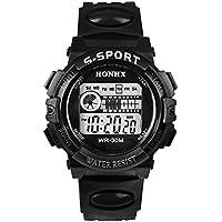Waterproof Mens Watches Mountaineering Sports Digital LED Date Quartz Wristwatch Black#1