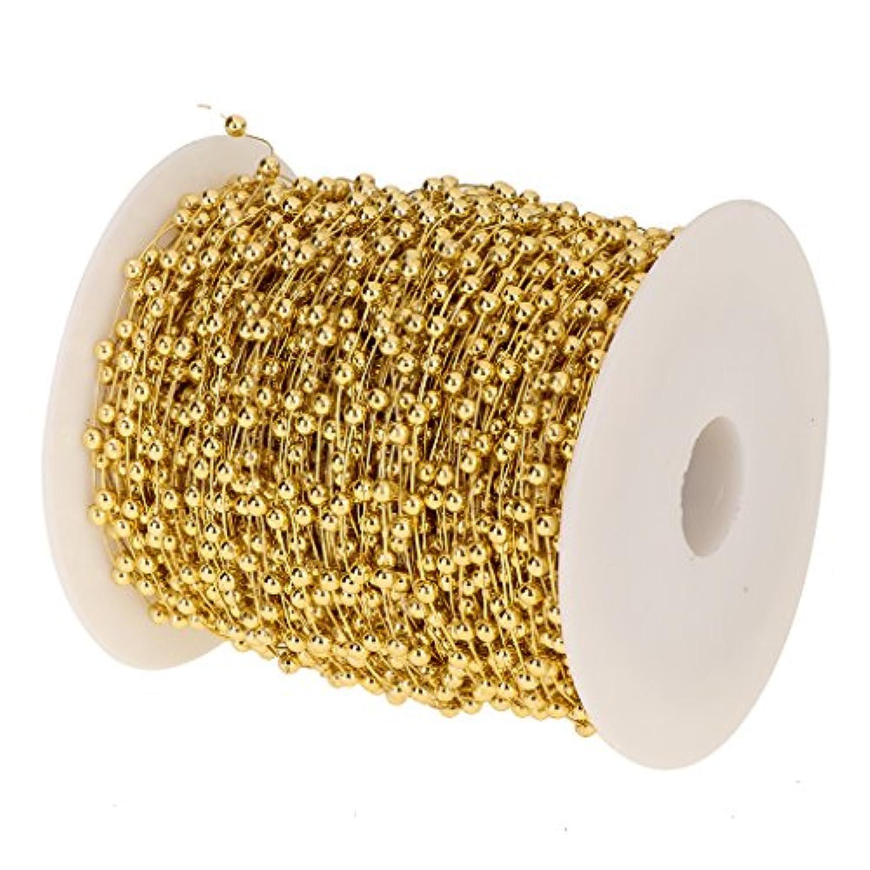 Homyl ビーズロール ビーズチェーン DIY 文字列 ビーズガーランド 60m 結婚式 飾り 衣装飾り ネックレス DIY  手作り 2色選べる - ゴールド