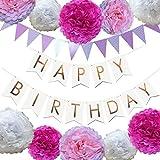 誕生日 飾り付け 装飾 セット バースデー ガーランド ペーパーフラワー フラッグガーランド ピンク