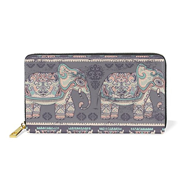 VAWA 財布 レディース 長財布 大容量 かわいい 花柄 象柄 アニマル 動物柄 きれい おしゃれ ファスナー財布 ウォレット 薄型 本革 型押し 小銭入れ プレゼント用