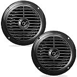 Pyle Dual 6.5'' Waterproof Marine Speakers, Full Range Stereo Sound, 120 Watt, Black (Pair)