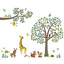 DECOWALL 大きな木と動物 大きな枝 動物 ウォール ステッカー デコ DM-1502P1512