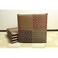 純国産 日本製 織込千鳥 い草座布団 ブラウン 約55×55cm×5P 【デザイン家具】
