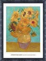 ポスター フィンセント ファン ゴッホ Vase with Twelve Sunflowers 1889 額装品 デコラティブフレーム(ブラック)