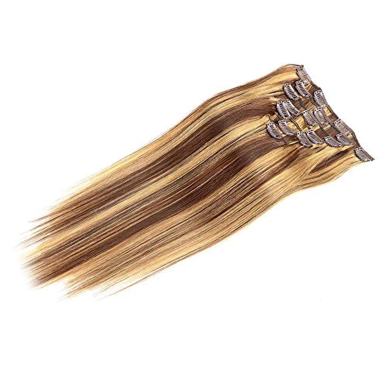 加害者救出擬人化HOHYLLYA ヘアエクステンション人毛14インチ4/27#茶色から7個フルヘッドストレート本物の髪ロールプレイングかつら女性の自然なかつら (色 : 4/27#)