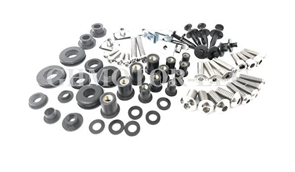 Silver GHMotor Complete Fairings Bolts Screws Fasteners Kit Set Made in USA for 1996 1997 1998 1999 2000 2001 2002 2003 KAWASAKI ZX7R ZX-7R