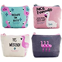 Women Canvas Coin Purse,kou kou Canvas Coin Purse Pouch Bag for Credit Card, ID Card, Keys, Headset, Lipstick, 4 Pieces