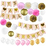 Kubertピンクとゴールドベビーシャワーデコレーションfor Girl Baby Shower It 's A Girlガーランドホオジロバナー紙ポンポン花紙提灯ペーパーハニカムボールパーティーデコレーション
