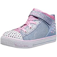 Skechers Australia Shuffle LITE - Dainty Denims Girls Training Shoe, Light Blue/Pink