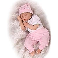 NPKDOLL リボーンベビードールソフトシミュレーションシリコーンビニール22インチの55センチメートル磁気口リアルな目を閉じたとかわいい子供のおもちゃピンクホワイト Reborn Baby Doll A1JP
