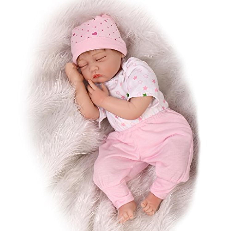 Nicery 人形 リボーンベビードールソフトシミュレーションシリコーンビニール22インチの55センチメートル磁気口リアルな目を閉じたとかわいい子供のおもちゃピンクホワイト Reborn Baby Doll Christmas Gift