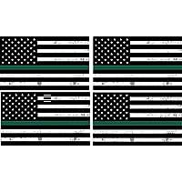 4パックシングリーンラインUSA車デカールバンパーステッカーウィンドウフラグのサポートArmy Military Sheriffs FederalエージェントBorder Patrol Park RangersゲームWardens野生動物環境フラグ