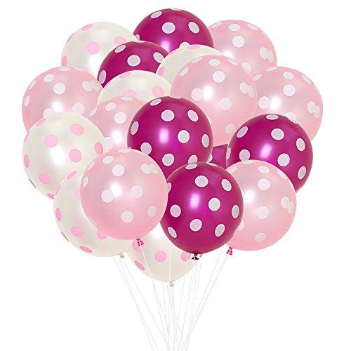 (ジンセルフ) JINSELF ドット あんしん極厚風船 100個セット (大)35cm 弾力2倍 高品質 キラキラ光沢 誕生日 結婚式 パーティー 飾り付け 飾り 装飾 空気入れ ピンクローズ