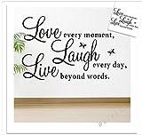 【ELEEJE】 大切な人 へ 気持ち を 伝える ウォールステッカー ( バレンタイン ・ ホワイトデー ・ クリスマス ・ 誕生日 など 様々な シーン の 演出 に 最適 ) 英字(love every moment laugh every day live beyond words)