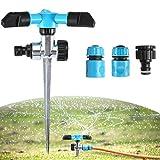 KING DO WAY スプリンクラー 自動散水器 360度回転 散水範囲:2~10m 角度・範囲調整可 ガーデン 芝生 庭木灌漑 散水用具 蛇口コネクタ付