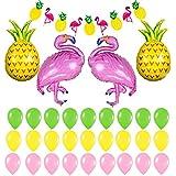 ハワイアンパーティー 飾り付け セット パイナップル フラミンゴ 熱帯 ハワイアン風 サマーパーティー カラフル バナー ガーランド グリーン イエロー ピンク 32枚セット